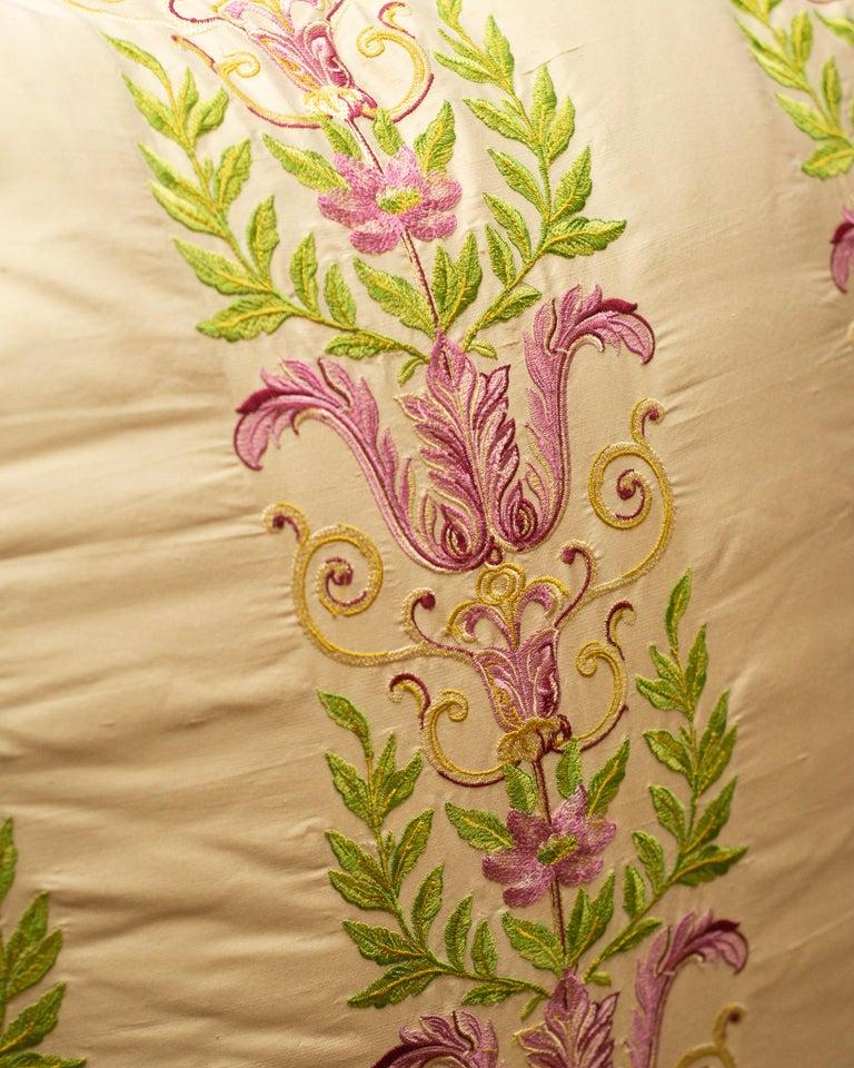 Canadian Studio Maison Nurita Embroidered Crème Silk and Cotton Velvet Pillow For Sale