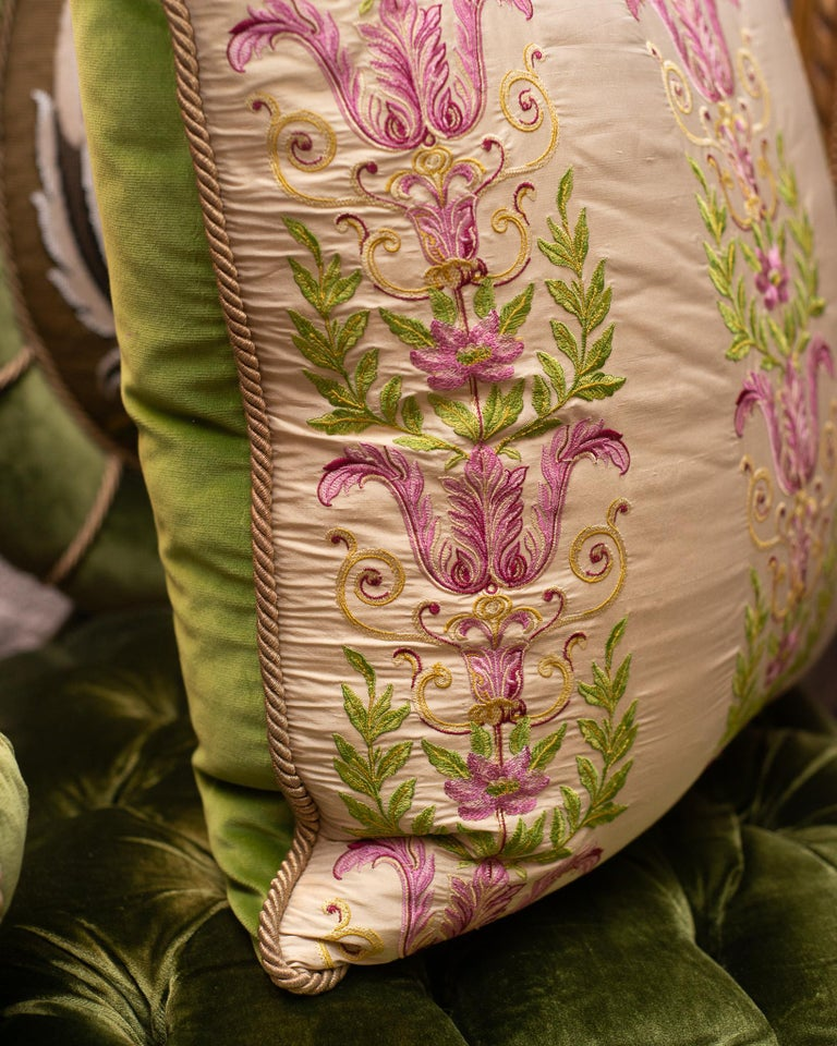 Studio Maison Nurita Embroidered Crème Silk and Cotton Velvet Pillow In New Condition For Sale In Toronto, ON