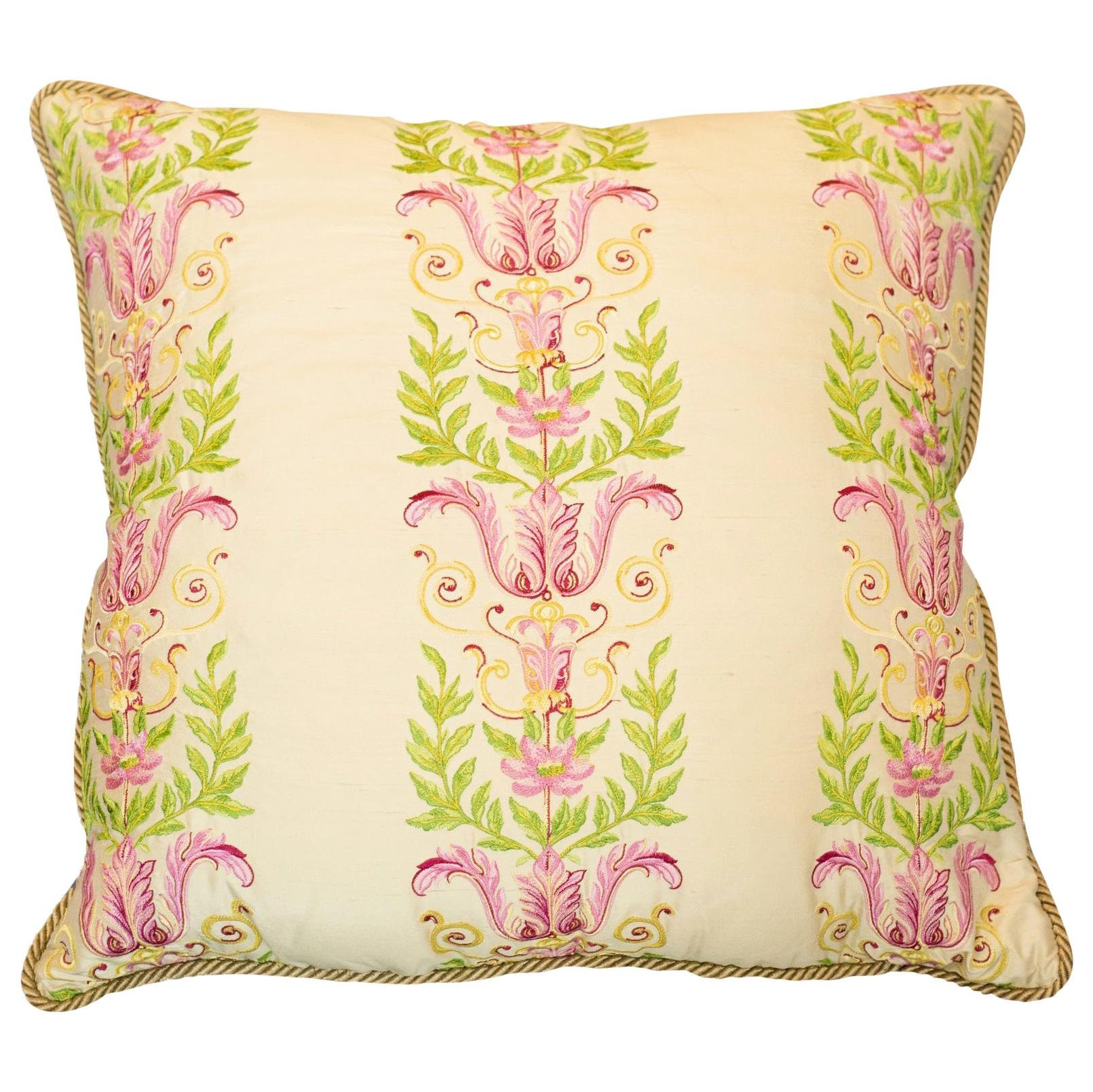 Studio Maison Nurita Embroidered Crème Silk and Cotton Velvet Pillow