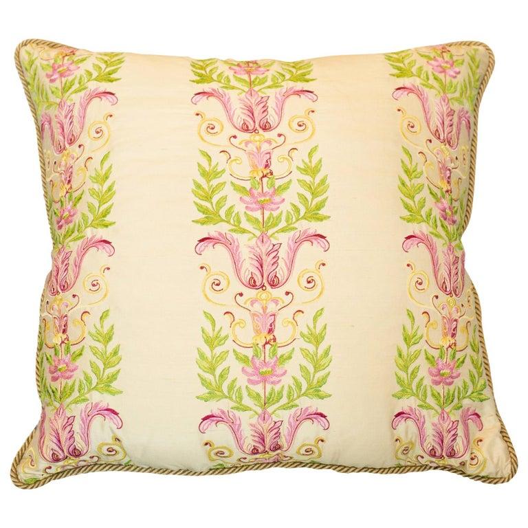 Studio Maison Nurita Embroidered Crème Silk and Cotton Velvet Pillow For Sale