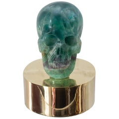 Studio Maison Nurita Green & Purple Fluorite Carved Skull on a Custom Brass Base