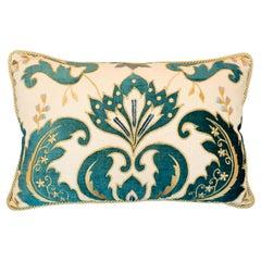 Studio Maison Nurita Linen and Blue Cut Velvet Pillow with Metallic Rope Trim