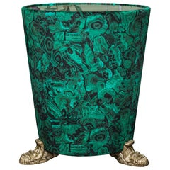 Studio Maison Nurita Malachite Velvet Table with Bronze Scroll Legs