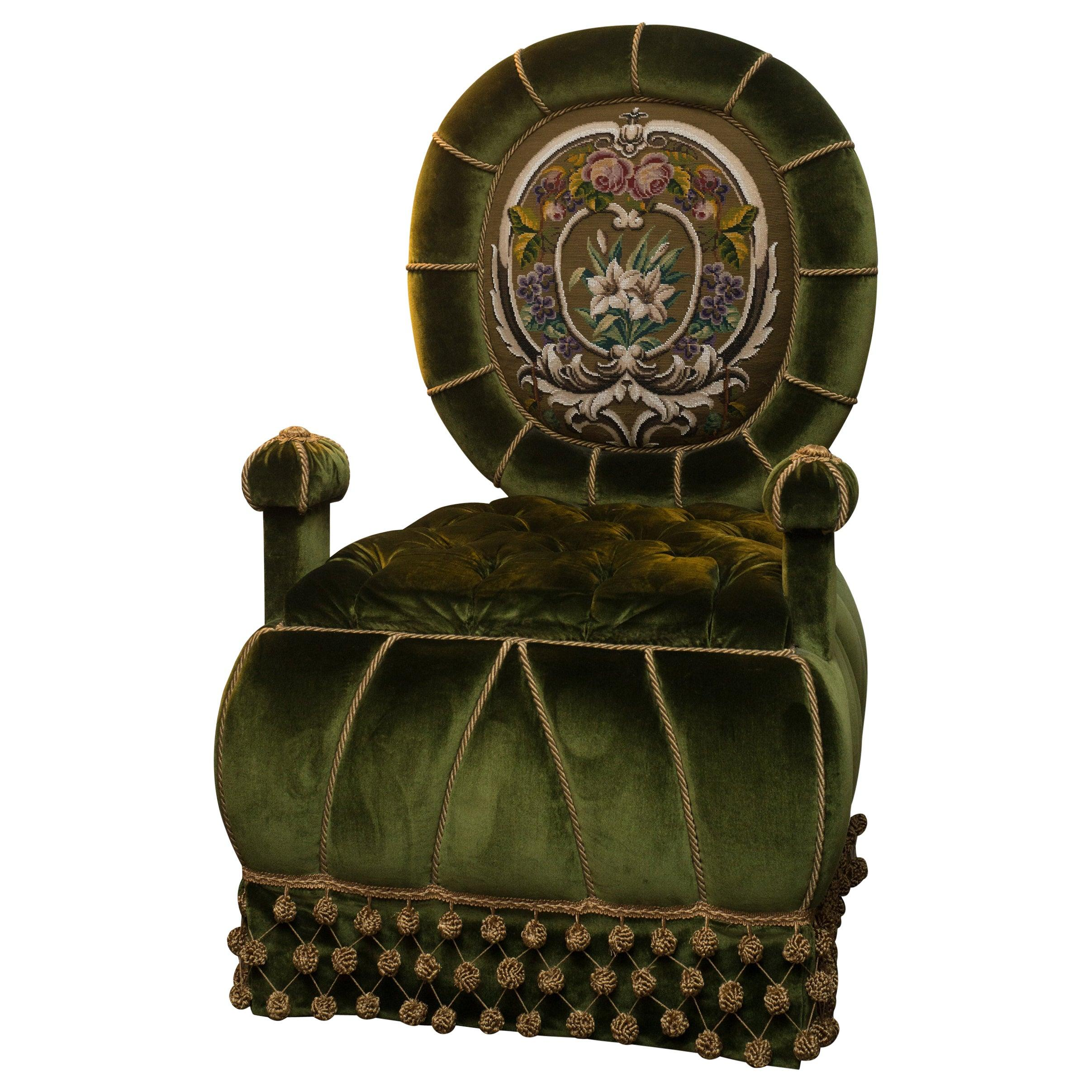 Studio Maison Nurita Napoleon III Inspired Green Velvet Beaded Chair