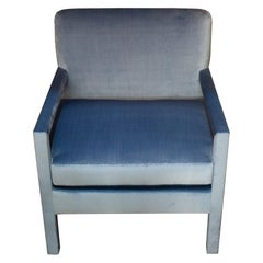 Studio Maison Nurita Parsons Chairs in Delft Blue Silk Velvet