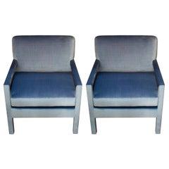 Studio Maison Nurita Parsons Chairs in Delft Blue Silk Velvet