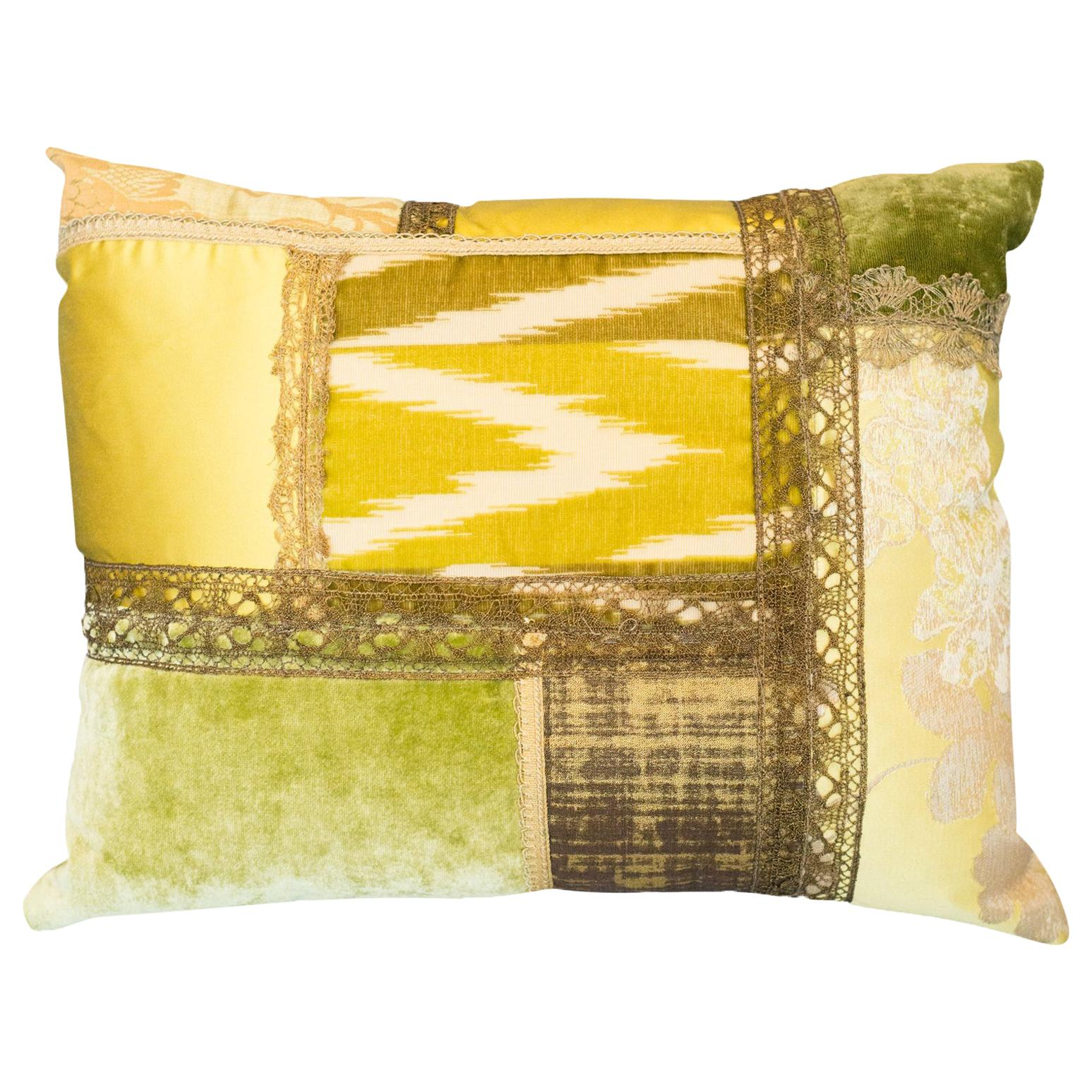 Studio Maison Nurita Patchwork Silk and Silk Velvet Pillow with Metallic Trims