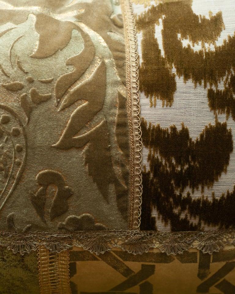 Canadian Studio Maison Nurita Patchwork Silk Velvet Pillow with Metallic Trims For Sale