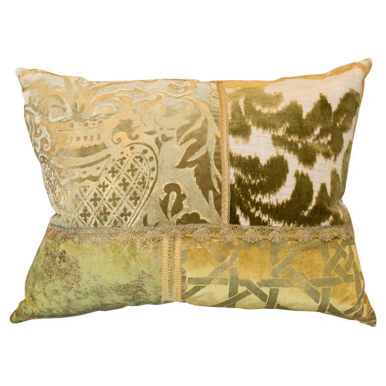 Studio Maison Nurita Patchwork Silk Velvet Pillow with Metallic Trims For Sale