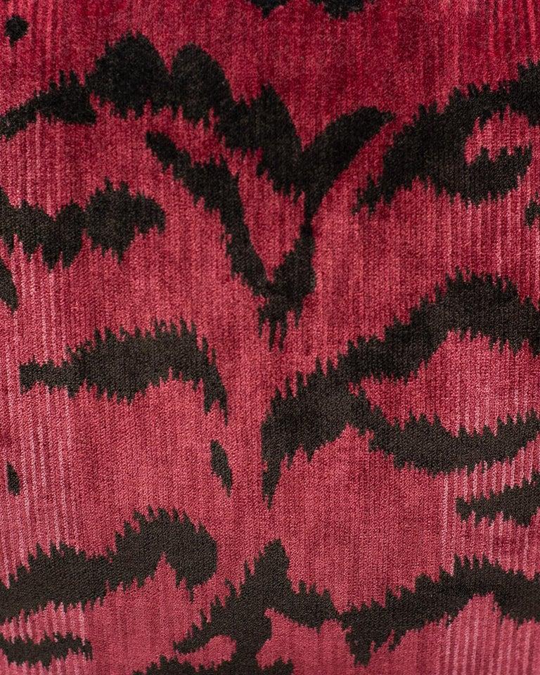 Canadian Pink Bevilacqua Tiger Silk Velvet and Satin Pillow by Studio Maison Nurita For Sale