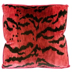 Studio Maison Nurita Pink Bevilacqua Tiger Silk Velvet and Satin Pillow