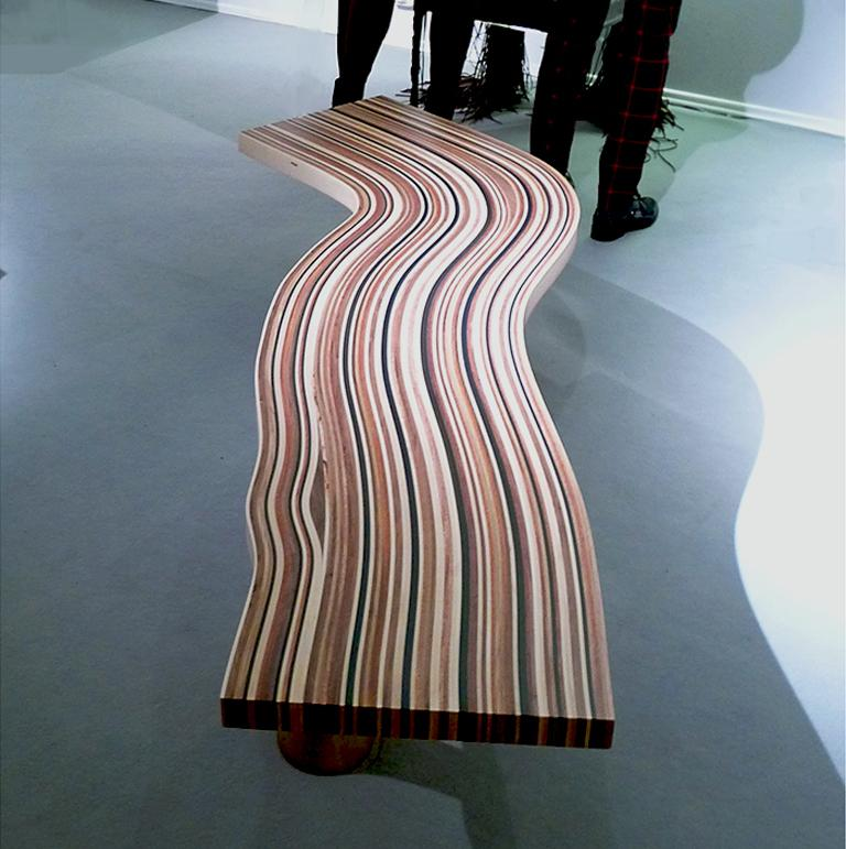 Wave, StudioManda, CoffeeTable, Wood, Liquid Metal, Limited Edition, Lebanon2012 In New Condition For Sale In Beirut, LB