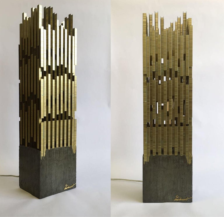 Urban, Georges Mohasseb Design, 2014 Inspired by the city nightscape, Urban is a table lamp, built from a combination of industrial materials as a tribute to what defines the cities we live in. The base is a brute concrete square cast topped with