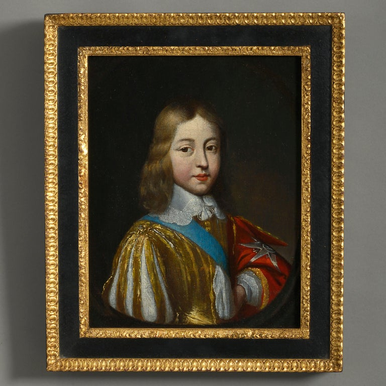 Hand-Carved Studio of Charles Beaubrun, Portrait of Louis XIV of France For Sale