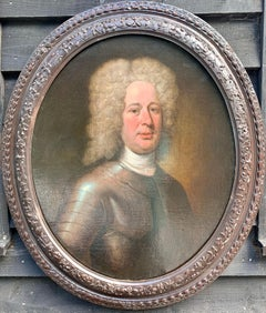 18th century oil painting English portrait of a gent in armor, wearing a wig