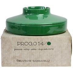 Studio O.P.I. for Gabbianelli Vintage Ceramic Green Ashtray 'New Old Stock'