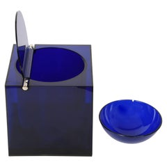 Studio Opi Midcentury Blue Acrylic Cubic Italian Ice Bucket Di Cini & Nils, 1974