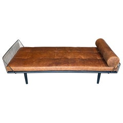 Studio Osklo Daybed 1 in Blackened Steel with Aged Leather Cushion and Bolster