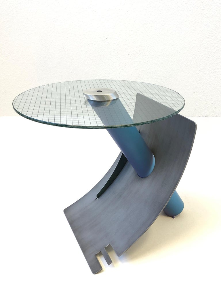 Studio Postmodern Steel and Glass Side Table by Michael Graham In Excellent Condition For Sale In Palm Springs, CA