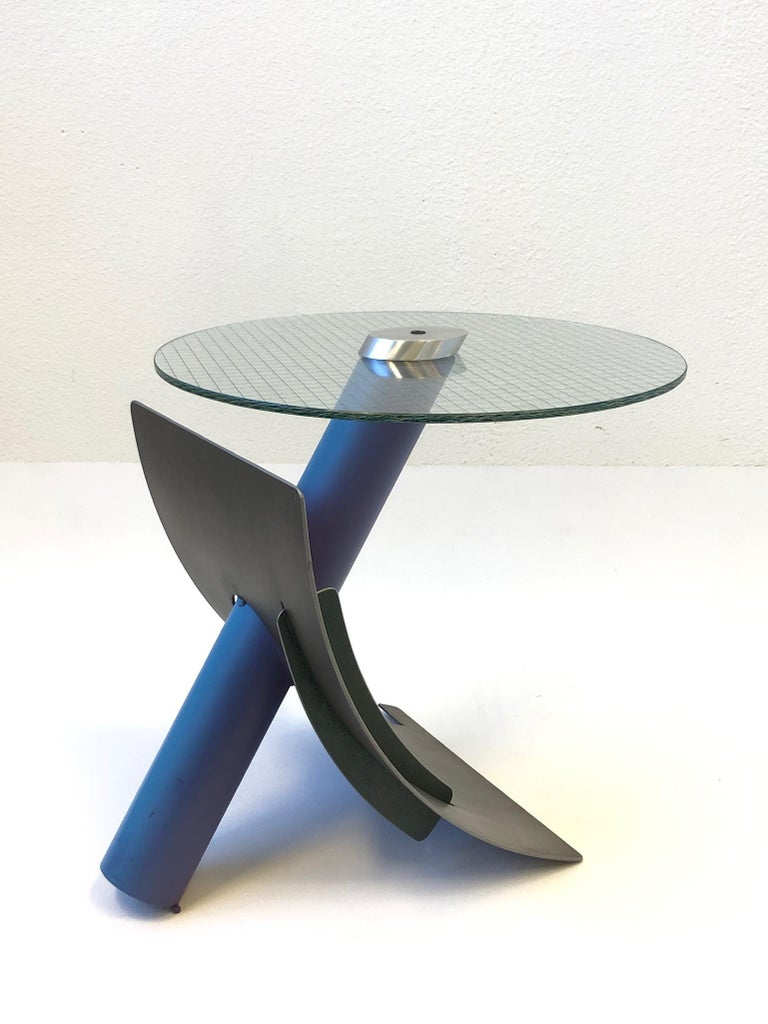 Studio Postmodern Steel and Glass Side Table by Michael Graham For Sale 2