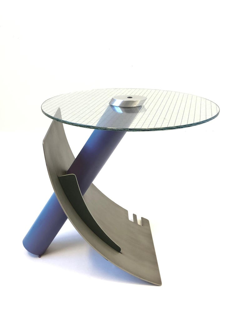 Studio Postmodern Steel and Glass Side Table by Michael Graham For Sale 3