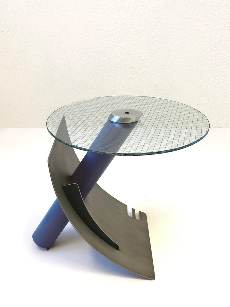 Studio Postmodern Steel and Glass Side Table by Michael Graham For Sale 4
