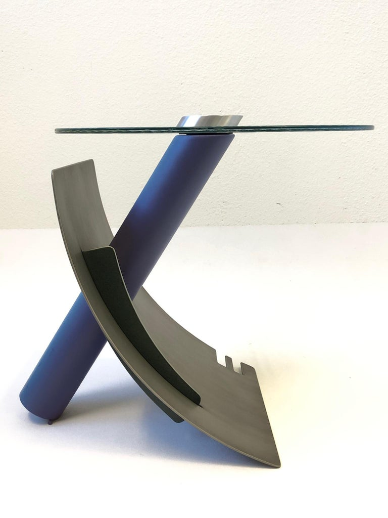 Studio Postmodern Steel and Glass Side Table by Michael Graham For Sale 5