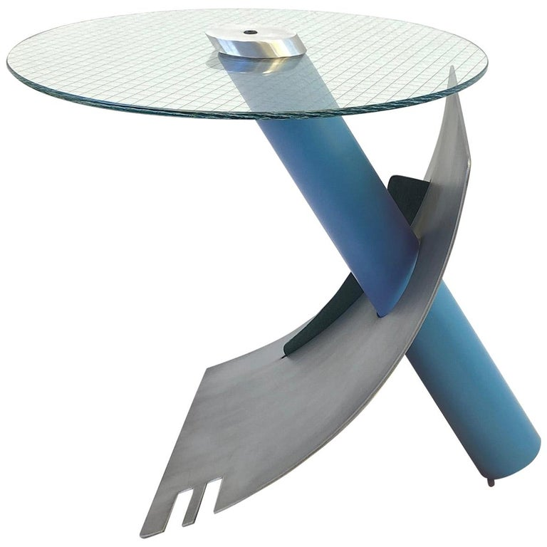 Studio Postmodern Steel and Glass Side Table by Michael Graham For Sale