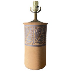"Studio Pottery Ceramic Lamp Signed "" Brown "" circa 1970"