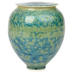 Studio Pottery Crystalline Glazed Porcelain Lidded Vessel