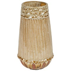 Studio Pottery Ribbed and Glazed Vase