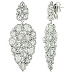 Studio Rêve Rose Cut Diamond Dangling Earrings 18 Karat White Gold