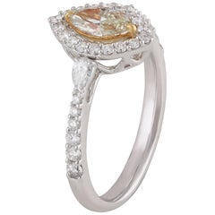 Studio Rêves 0.50 Carat Yellow Marquise Engagement Ring in 18 Karat Gold