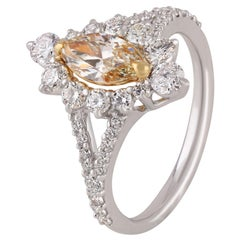 Studio Rêves 0.65 Carat Yellow Marquise Engagement Ring in 18 Karat Gold