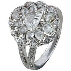 Studio Rêves 0.70 Carat Trillion Rose Cut Diamond Ring in 18 Karat White Gold