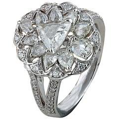 Studio Rêves 0.70 Carat Trillion Rose Cut Diamond Ring in 18 Karat Gold