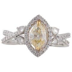 Studio Rêves 0.70 Carat Yellow Marquise Engagement Ring in 18 Karat Gold