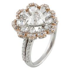 Studio Rêves 0.90 Carat Heart Rose Cut Floral Ring in 18 Karat Gold