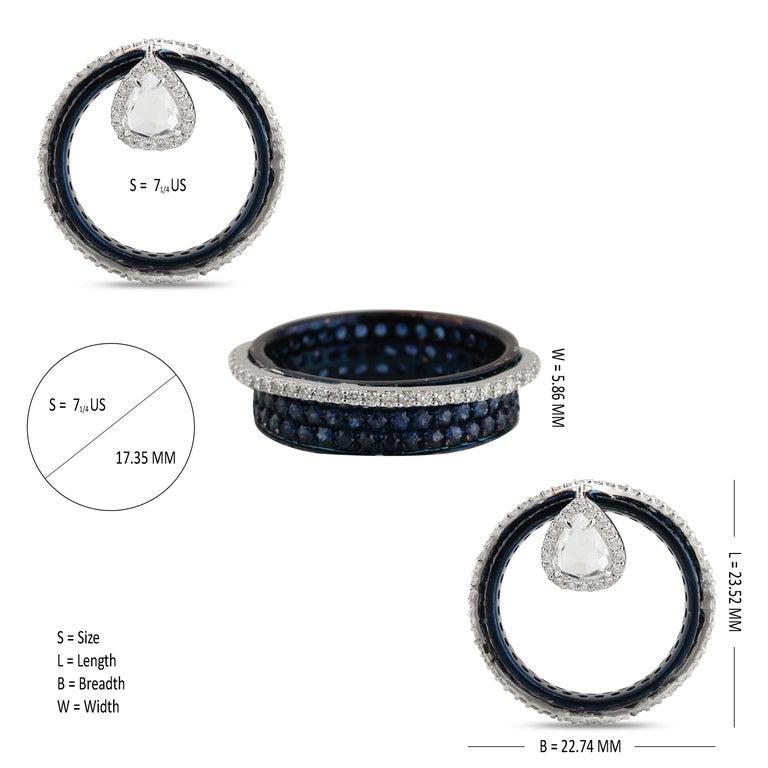 Studio Rêves 0.64 Carat Rose Cut Band Ring in 18 Karat White Gold 1