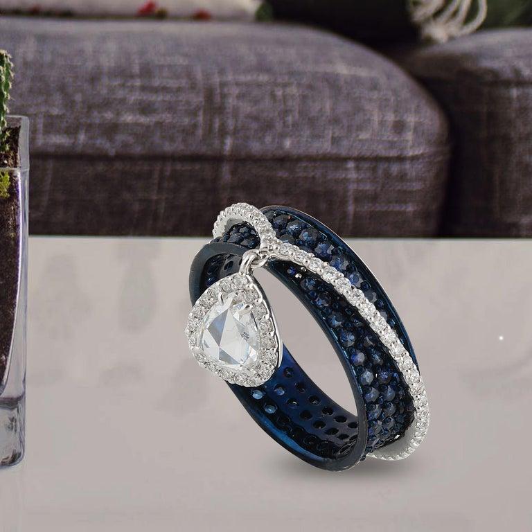 Studio Rêves 0.64 Carat Rose Cut Band Ring in 18 Karat White Gold 2