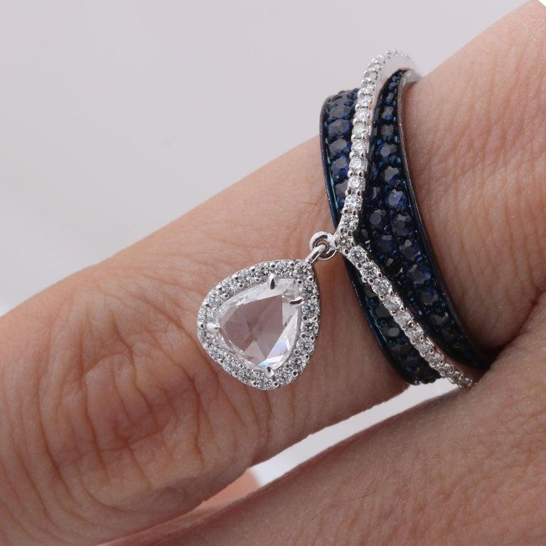 Studio Rêves 0.64 Carat Rose Cut Band Ring in 18 Karat White Gold 3