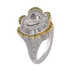 Studio Rêves 1.08 Carat Rose Cut Diamond and Tsavorites Heart Ring in 18k Gold