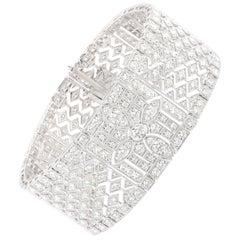 Studio Rêves 12.02 Carat Diamond Studded Broad Bracelet in 14 Karat Gold