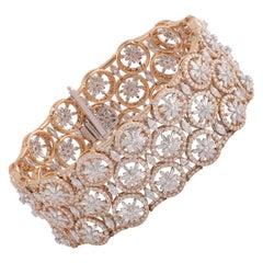 Studio Rêves 15.93 Carat Diamond Studded Floral Bracelet in 18 Karat Gold