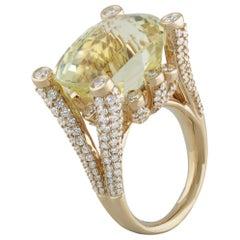 Studio Rêves 16.08 Carat Topaz and Diamond Cocktail Ring in 18 Karat Gold