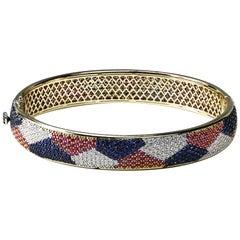 Studio Rêves 18 Karat Diamonds and Sapphires Bangle Bracelet