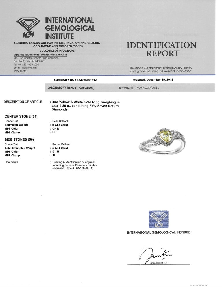 Studio Rêves 0.53 Carat Yellow Pear Engagement Ring in 18 Karat Gold For Sale 4