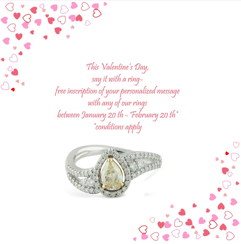 Yellow and white diamond ring  This Valentine's Day, say it with a ring- free inscription of your personalized message with any of our rings between January 20 th - February 20 th*   A pear-shaped yellow diamond is closely encased by round brilliant