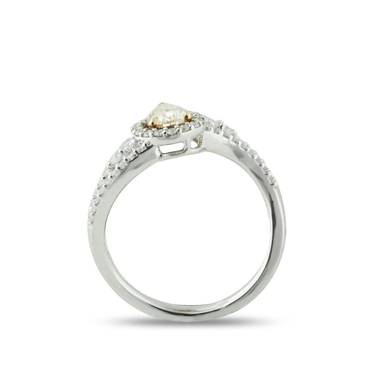 Pear Cut Studio Rêves 0.53 Carat Yellow Pear Engagement Ring in 18 Karat Gold For Sale