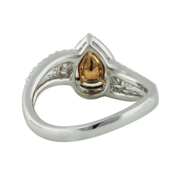 Women's Studio Rêves 0.53 Carat Yellow Pear Engagement Ring in 18 Karat Gold For Sale